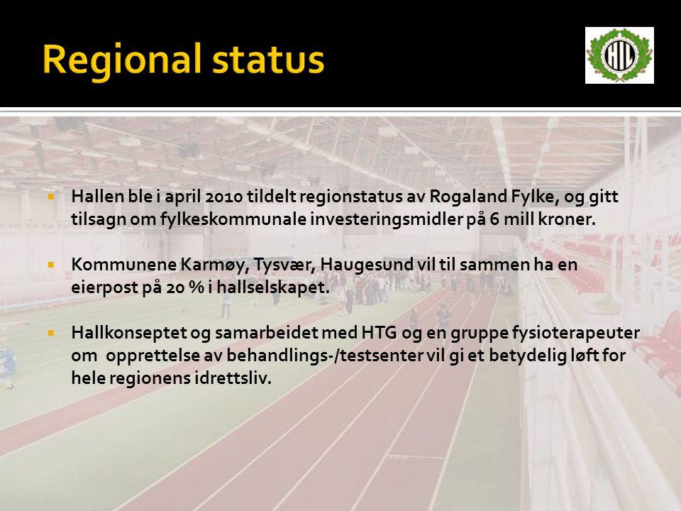  Hallen ble i april 2010 tildelt regionstatus av Rogaland Fylke, og gitt tilsagn om fylkeskommunale investeringsmidler på 6 mill kroner.  Kommunene