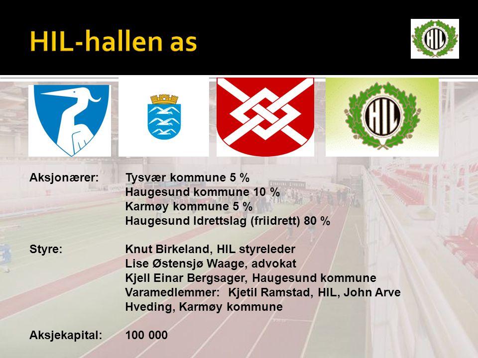 Aksjonærer:Tysvær kommune 5 % Haugesund kommune 10 % Karmøy kommune 5 % Haugesund Idrettslag (friidrett) 80 % Styre:Knut Birkeland, HIL styreleder Lis