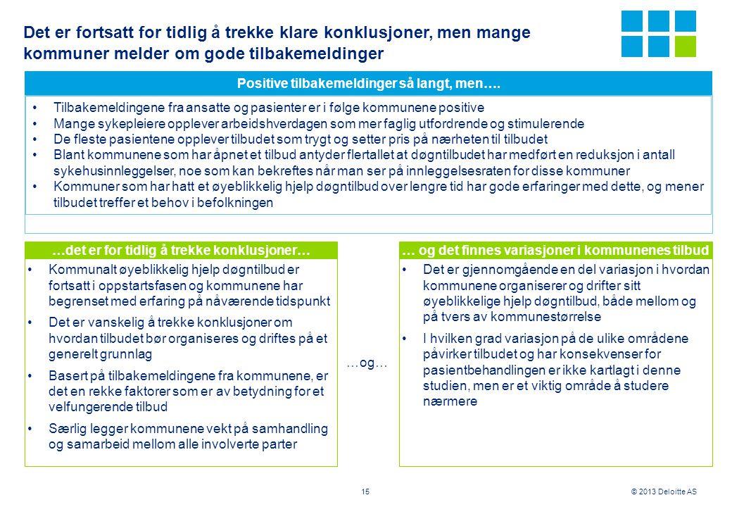 © 2013 Deloitte AS Det er fortsatt for tidlig å trekke klare konklusjoner, men mange kommuner melder om gode tilbakemeldinger …det er for tidlig å tre
