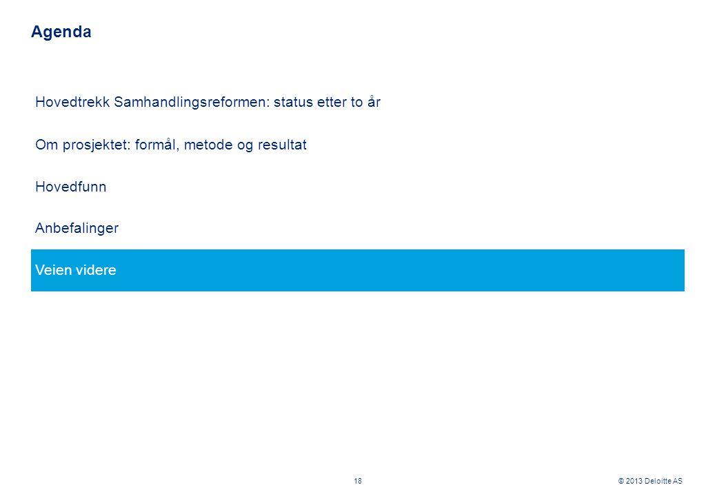 © 2013 Deloitte AS Hovedtrekk Samhandlingsreformen: status etter to år Om prosjektet: formål, metode og resultat Hovedfunn Anbefalinger Veien videre A