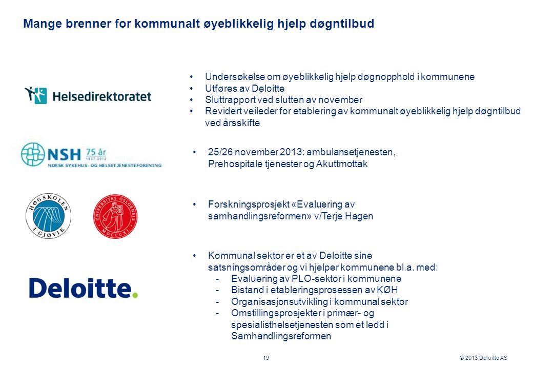 © 2013 Deloitte AS Mange brenner for kommunalt øyeblikkelig hjelp døgntilbud 19 •Undersøkelse om øyeblikkelig hjelp døgnopphold i kommunene •Utføres a