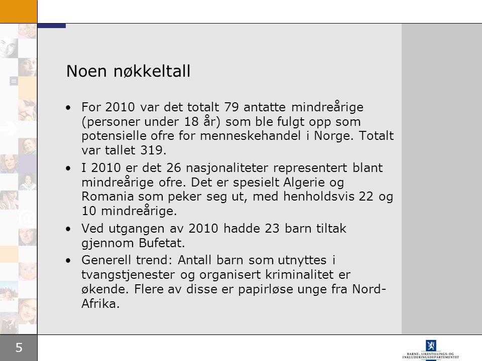 5 Noen nøkkeltall •For 2010 var det totalt 79 antatte mindreårige (personer under 18 år) som ble fulgt opp som potensielle ofre for menneskehandel i N