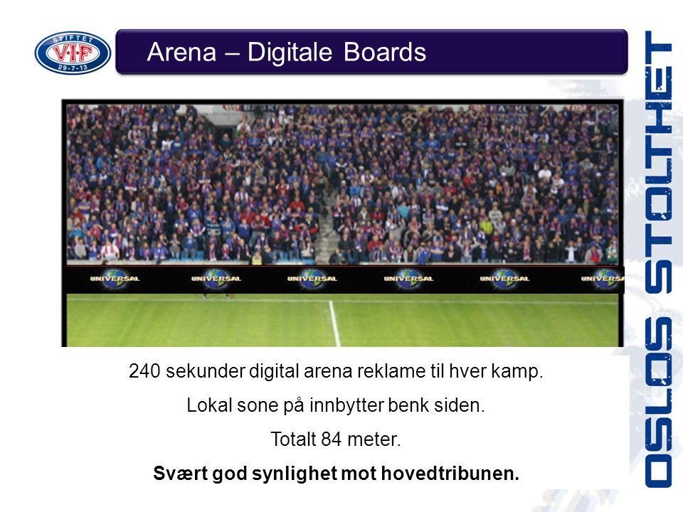 Arena – Digitale Boards 240 sekunder digital arena reklame til hver kamp.