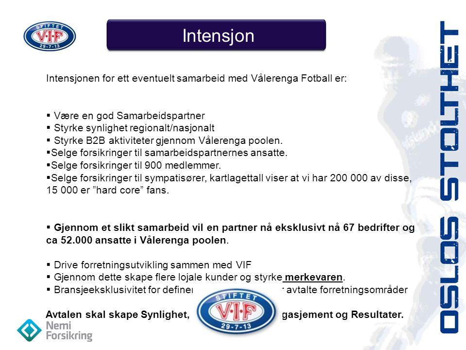 Intensjon Intensjonen for ett eventuelt samarbeid med Vålerenga Fotball er:  Være en god Samarbeidspartner  Styrke synlighet regionalt/nasjonalt  Styrke B2B aktiviteter gjennom Vålerenga poolen.