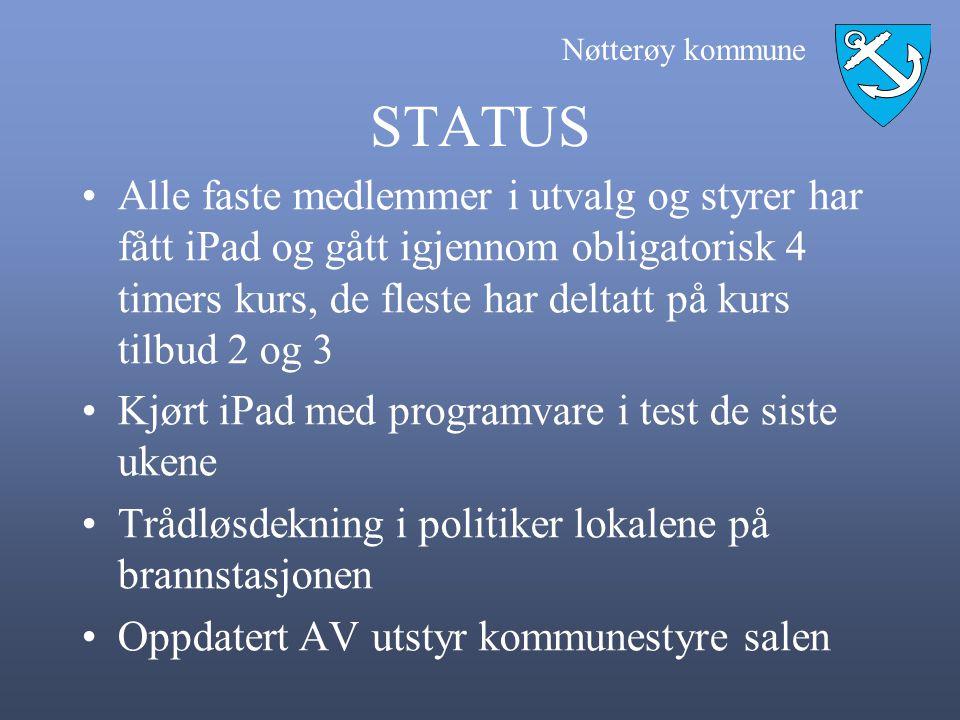 Nøtterøy kommune STATUS •Alle faste medlemmer i utvalg og styrer har fått iPad og gått igjennom obligatorisk 4 timers kurs, de fleste har deltatt på k