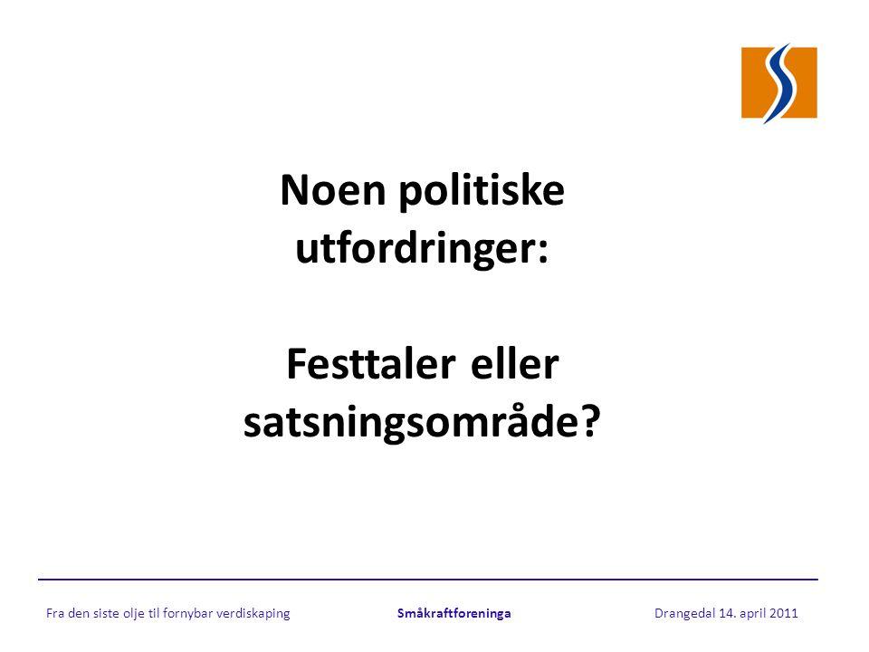 Noen politiske utfordringer: Festtaler eller satsningsområde.