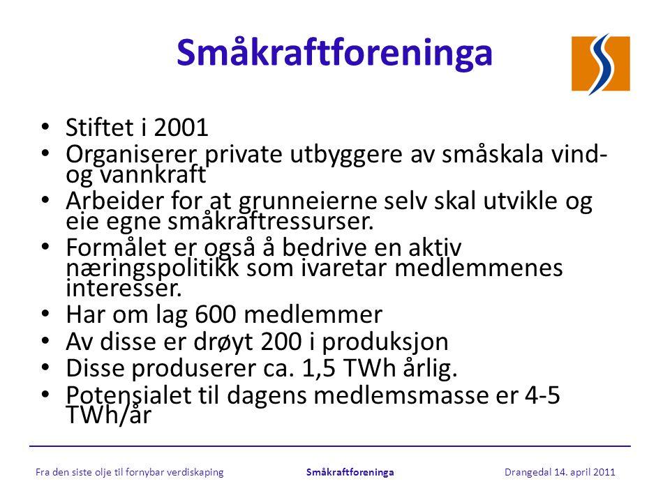 Småkraftforeninga Fra den siste olje til fornybar verdiskaping Småkraftforeninga Drangedal 14.