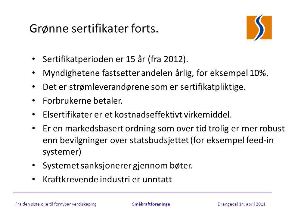 Grønne sertifikater forts. • Sertifikatperioden er 15 år (fra 2012).