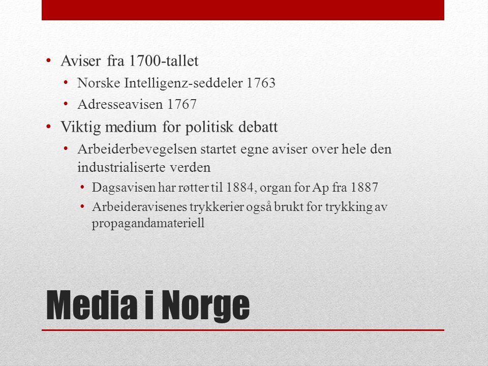 MEDIA I NORGE Noen hovedtrekk i utviklingen