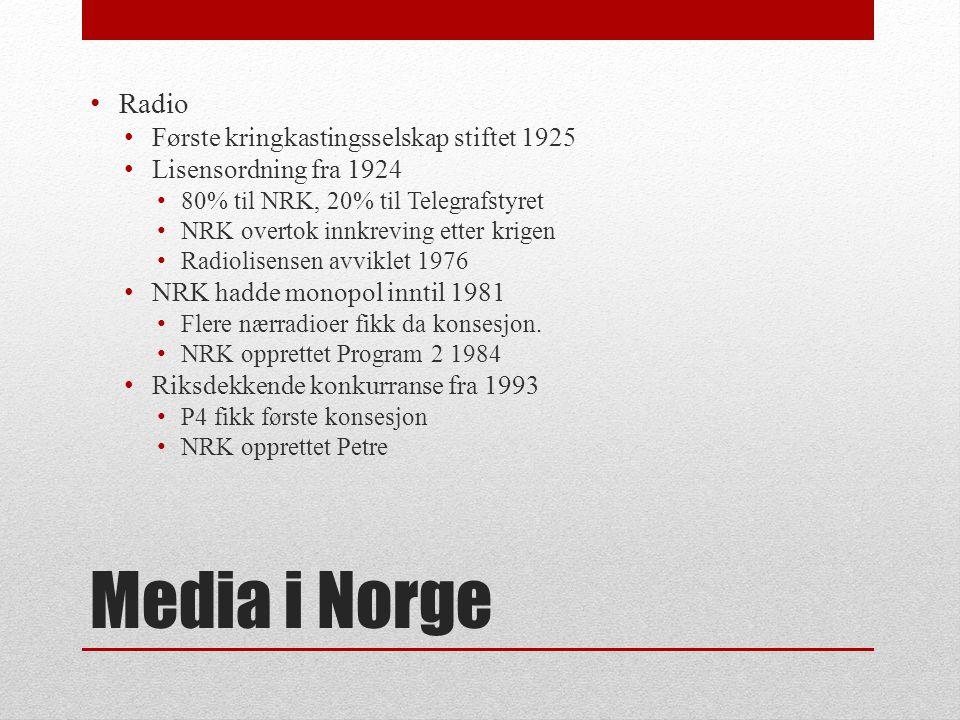 Media i Norge • Første filmvisning 1896 • Aktualitetsklipp og internasjonale nyhetsruller utover 1900-tallet • Oslo Kinematografers filmrevy fra 1929 • Filmavisen fra 1941 • Filmmediets aktualitetsverdi redusert med fjernsynets inntog • Også produsert fiksjonsfilmer med arbeidertema • http://urn.nb.no/URN:NBN:no-nb_video_921 http://urn.nb.no/URN:NBN:no-nb_video_921