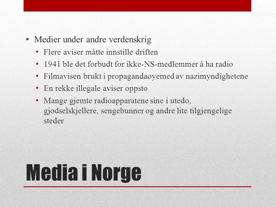 Media i Norge • Radio • Første kringkastingsselskap stiftet 1925 • Lisensordning fra 1924 • 80% til NRK, 20% til Telegrafstyret • NRK overtok innkreving etter krigen • Radiolisensen avviklet 1976 • NRK hadde monopol inntil 1981 • Flere nærradioer fikk da konsesjon.