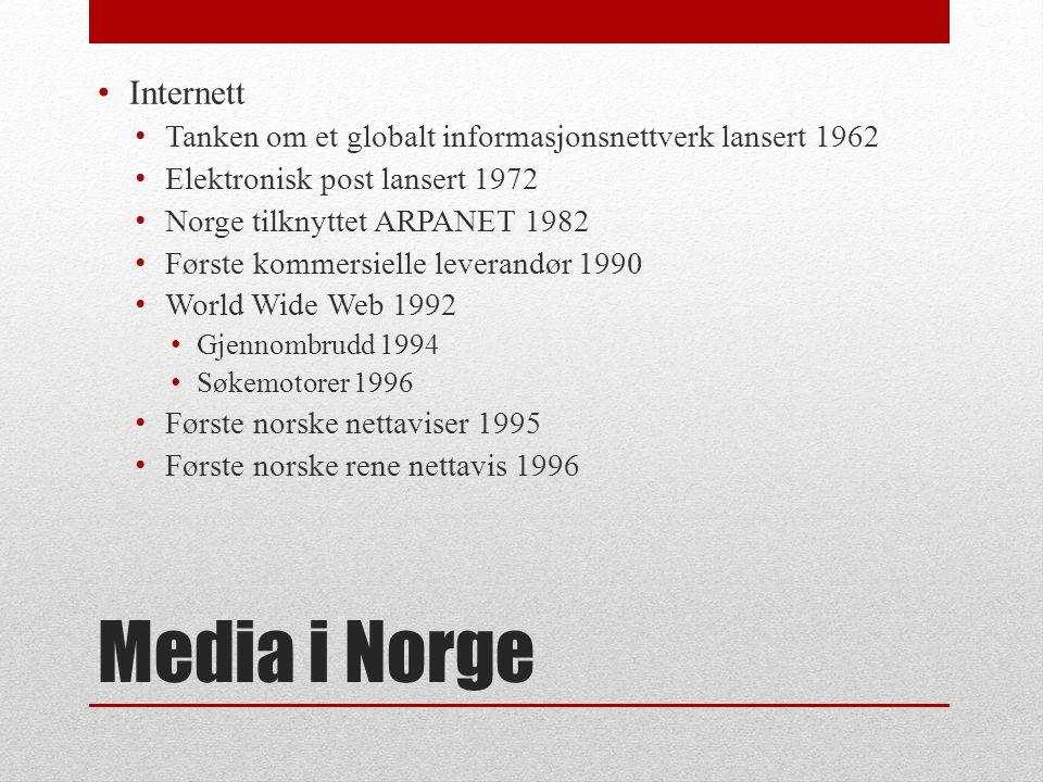 Media i Norge • Fjernsyn • NRK startet prøvesendinger 1954 • Lisensordning etter modell fra radio fra 1957 • Ordinære sendinger fra 1960 • Fargefjernsyn første gang nyttårsaften 1971, ordinære sendinger i farger fra 1975.