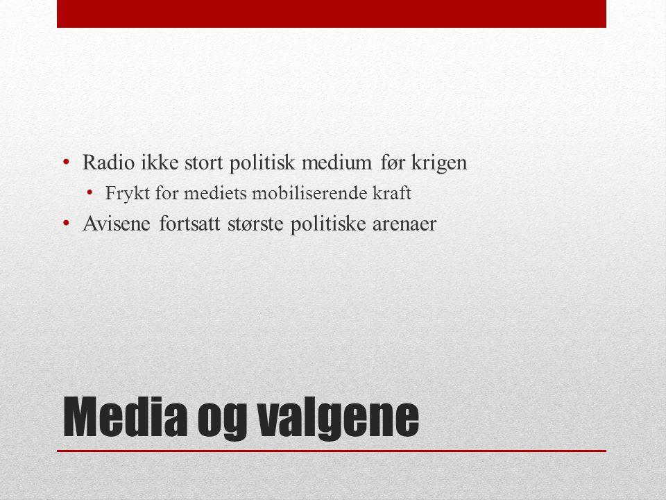 Media og valgene • Radio tidlig brukt for viktige kunngjøringer fra myndighetene • Nygaardsvold 14.