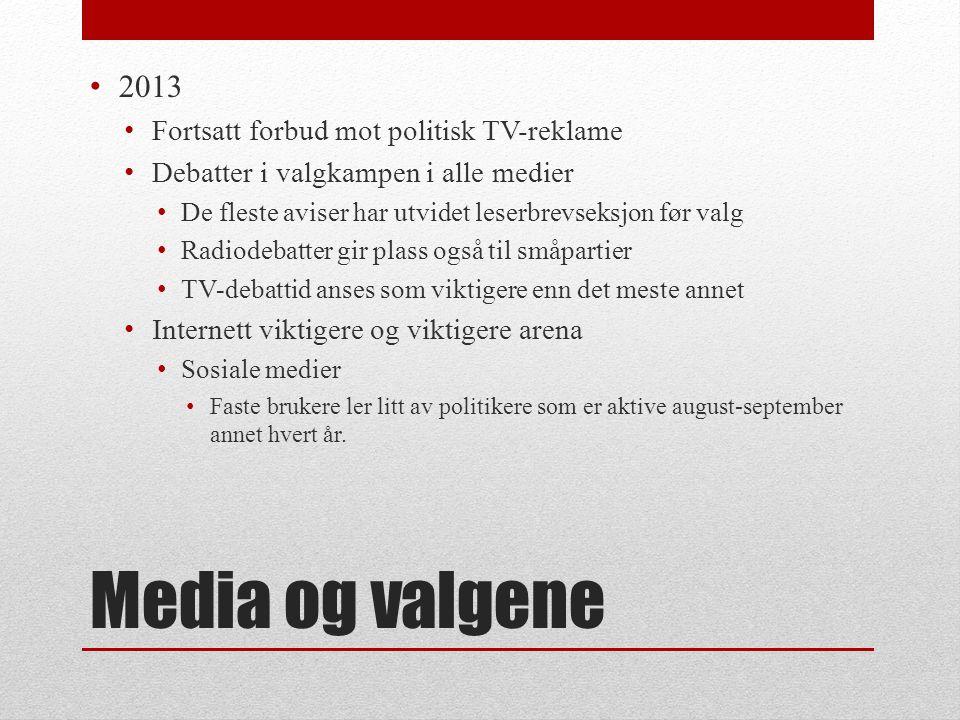 Media og valgene • Første partilederdebatt i fjernsynet 25.