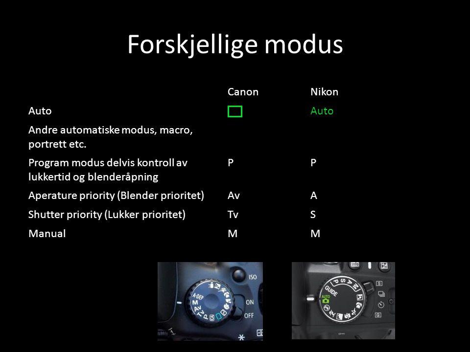 Forskjellige modus CanonNikon Auto Andre automatiske modus, macro, portrett etc. Program modus delvis kontroll av lukkertid og blenderåpning PP Aperat