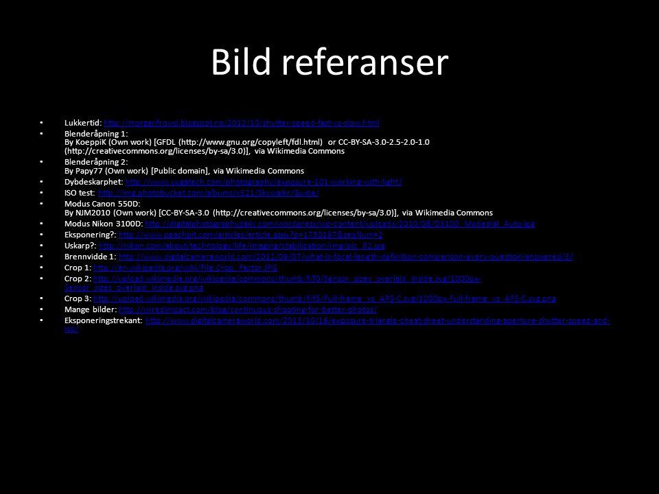 Bild referanser • Lukkertid: http://morganfrowd.blogspot.no/2012/10/shutter-speed-fast-vs-slow.htmlhttp://morganfrowd.blogspot.no/2012/10/shutter-spee