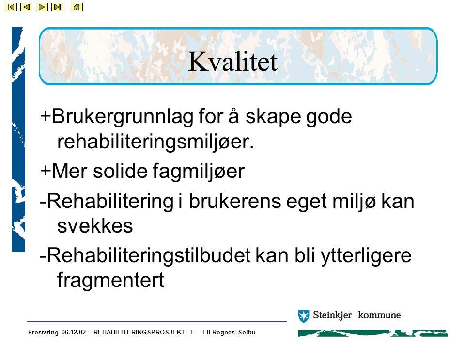 Frostating 06.12.02 – REHABILITERINGSPROSJEKTET – Eli Rognes Solbu Kvalitet +Brukergrunnlag for å skape gode rehabiliteringsmiljøer.