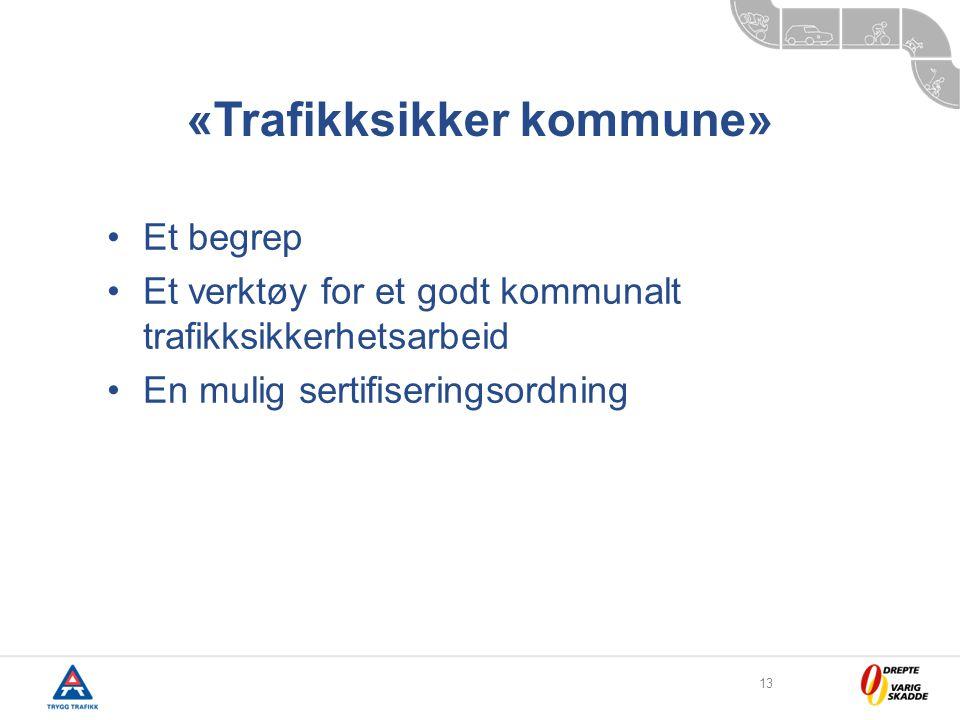 13 «Trafikksikker kommune» •Et begrep •Et verktøy for et godt kommunalt trafikksikkerhetsarbeid •En mulig sertifiseringsordning
