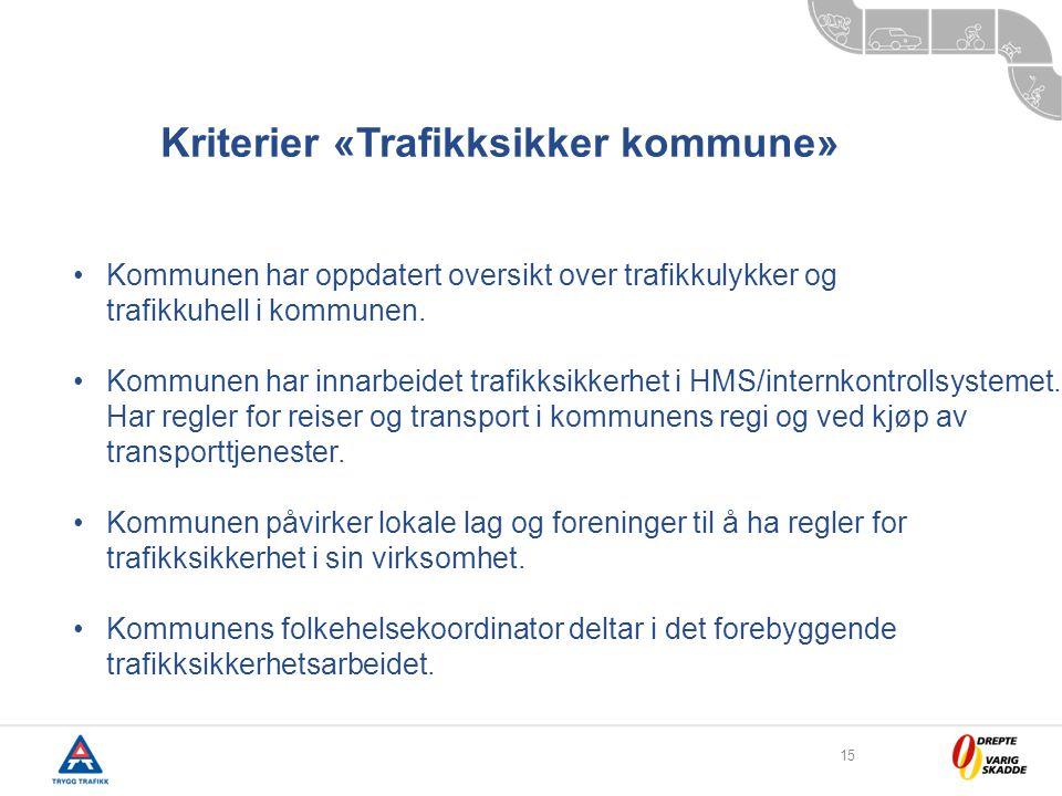 15 •Kommunen har oppdatert oversikt over trafikkulykker og trafikkuhell i kommunen.