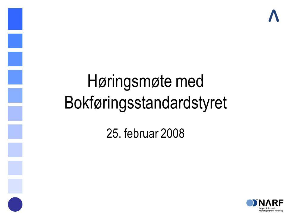 Høringsmøte med Bokføringsstandardstyret 25. februar 2008