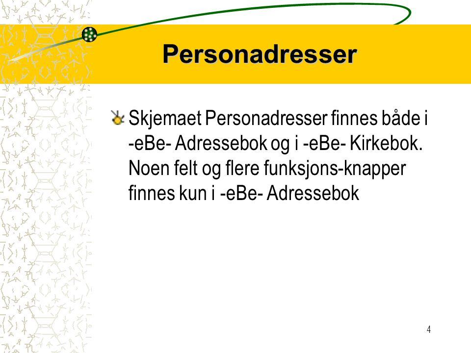 4 Personadresser Skjemaet Personadresser finnes både i -eBe- Adressebok og i -eBe- Kirkebok.