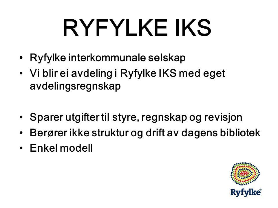 RYFYLKE IKS •Ryfylke interkommunale selskap •Vi blir ei avdeling i Ryfylke IKS med eget avdelingsregnskap •Sparer utgifter til styre, regnskap og revisjon •Berører ikke struktur og drift av dagens bibliotek •Enkel modell