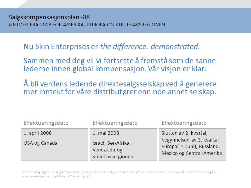 Salgskompensasjonsplan -08 GJELDER FRA 2008 FOR AMERIKA, EUROPA OG STILLEHAVSREGIONEN Nu Skin Enterprises er the difference. demonstrated. Sammen med
