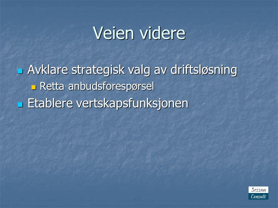 Veien videre  Avklare strategisk valg av driftsløsning  Retta anbudsforespørsel  Etablere vertskapsfunksjonen