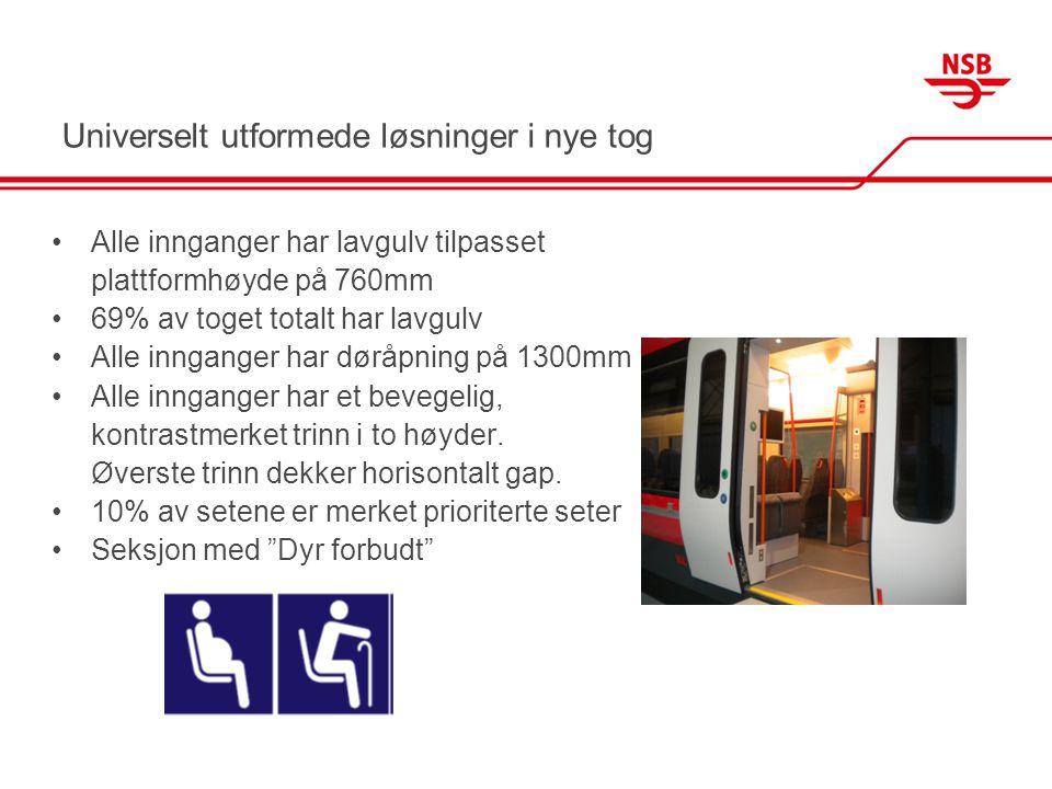 Universelt utformede løsninger - rullestolplasser •4 rullestolplasser (2 permanente) •Permanente rullestolplasser er integrert i ordinær sitteavdeling •Rullestolplassene er plassert med eller mot kjøreretning (ikke sidelengs) •Rullestolplassene har bord, strømuttak, leselys og assistanseknapp •Plassene har innfestningsanordning •1 HCWC ved rullestolplassene