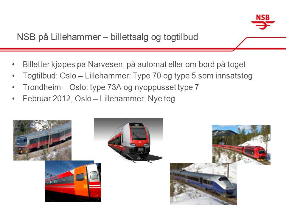 NSB på Lillehammer – billettsalg og togtilbud •Billetter kjøpes på Narvesen, på automat eller om bord på toget •Togtilbud: Oslo – Lillehammer: Type 70