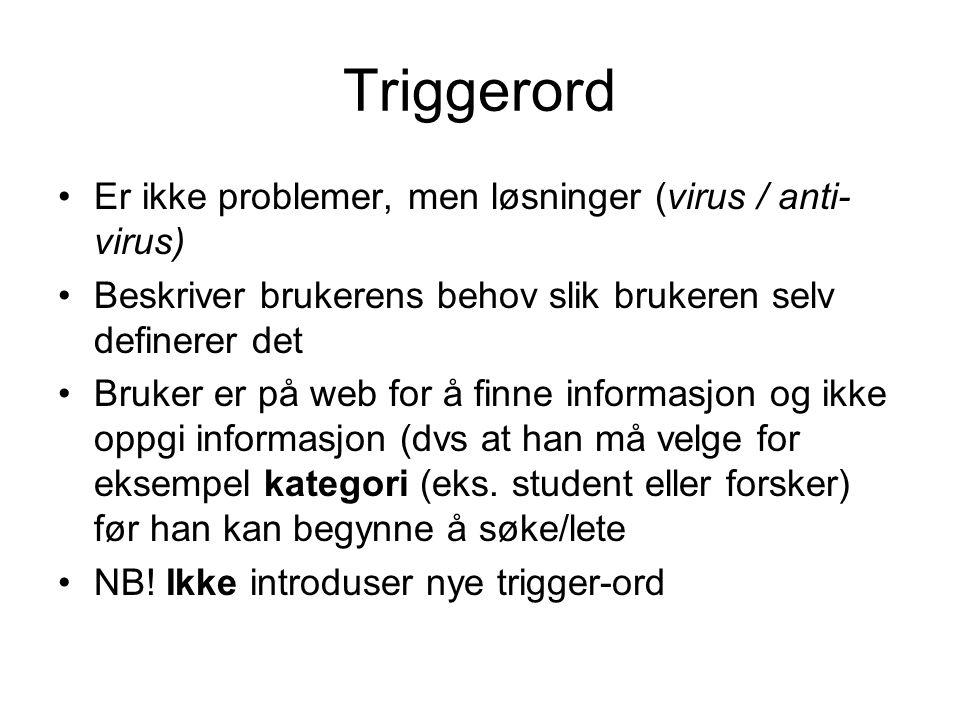 Triggerord •Er ikke problemer, men løsninger (virus / anti- virus) •Beskriver brukerens behov slik brukeren selv definerer det •Bruker er på web for å