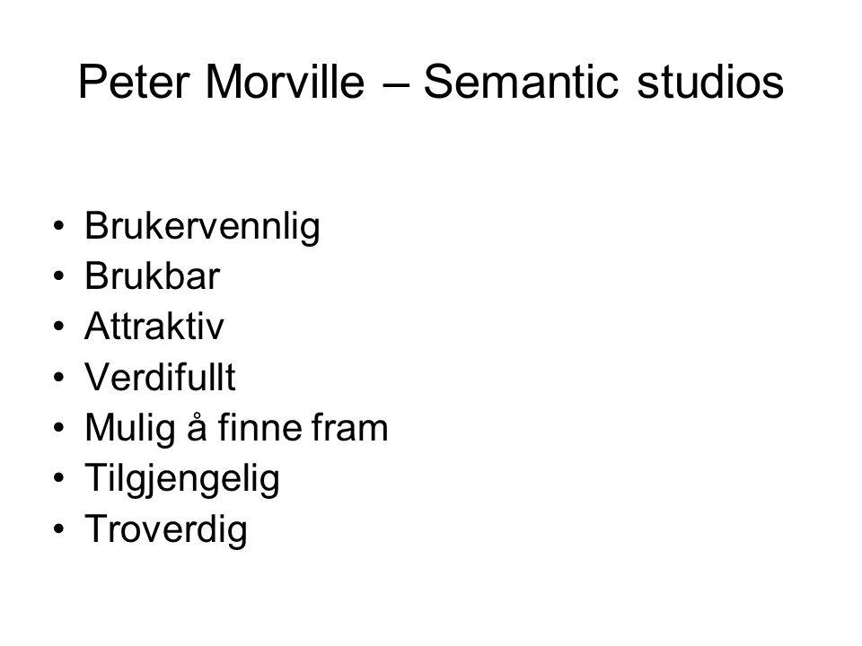 Peter Morville – Semantic studios •Brukervennlig •Brukbar •Attraktiv •Verdifullt •Mulig å finne fram •Tilgjengelig •Troverdig