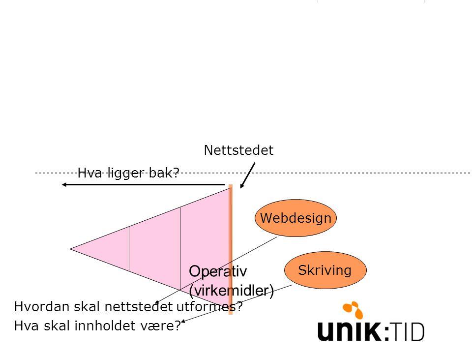 Operativ (virkemidler) Nettstedet Hva ligger bak. Hvordan skal nettstedet utformes.