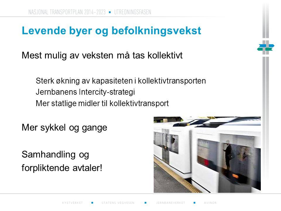 Levende byer og befolkningsvekst Mest mulig av veksten må tas kollektivt Sterk økning av kapasiteten i kollektivtransporten Jernbanens Intercity-strat