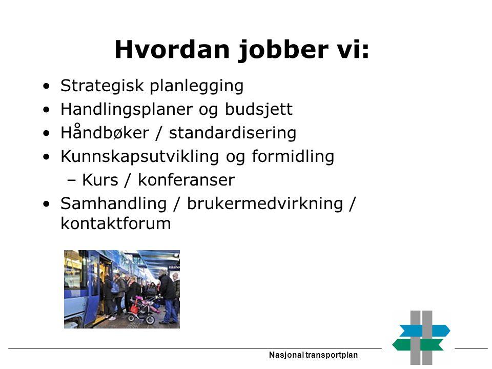 Nasjonal transportplan Hvordan jobber vi: •Strategisk planlegging •Handlingsplaner og budsjett •Håndbøker / standardisering •Kunnskapsutvikling og for