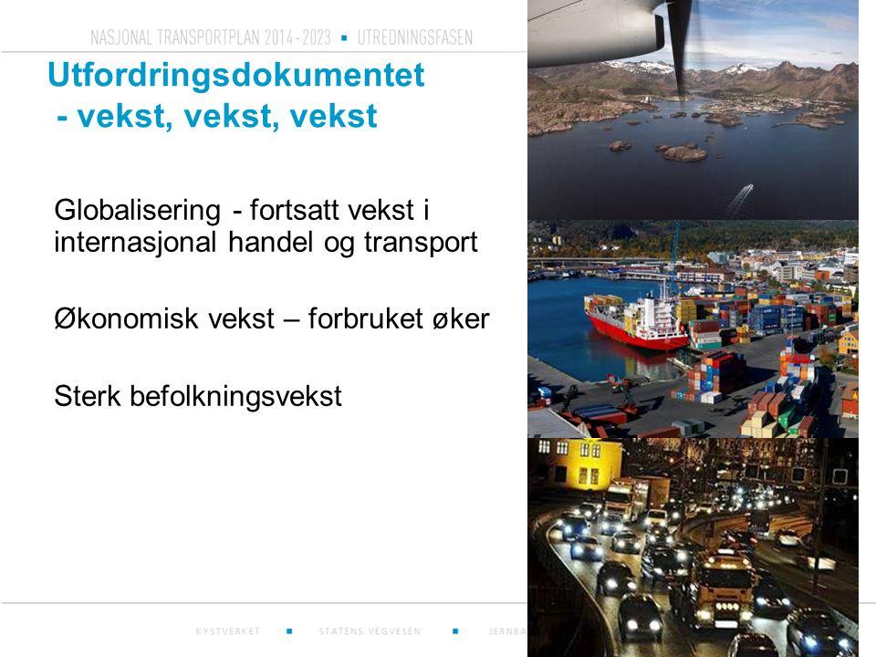 Sterk befolkningsvekst i byområder gir kapasitetsproblemer Kilde: SSB (2010) Oslo-området får 1,5 millioner flere daglige reiser innen 2040 som følge av befolkningsøkning – fra 4 millioner i 2010 i 5,5 millioner i 2040 I samme periode får Stavanger-området over 400 000 flere daglige reiser - fra 1 million i 2010 til 1,4 millioner i 2040