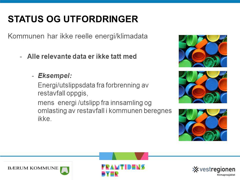 STATUS OG UTFORDRINGER Kommunen har ikke reelle energi/klimadata -Alle relevante data er ikke tatt med -Eksempel: Energi/utslippsdata fra forbrenning