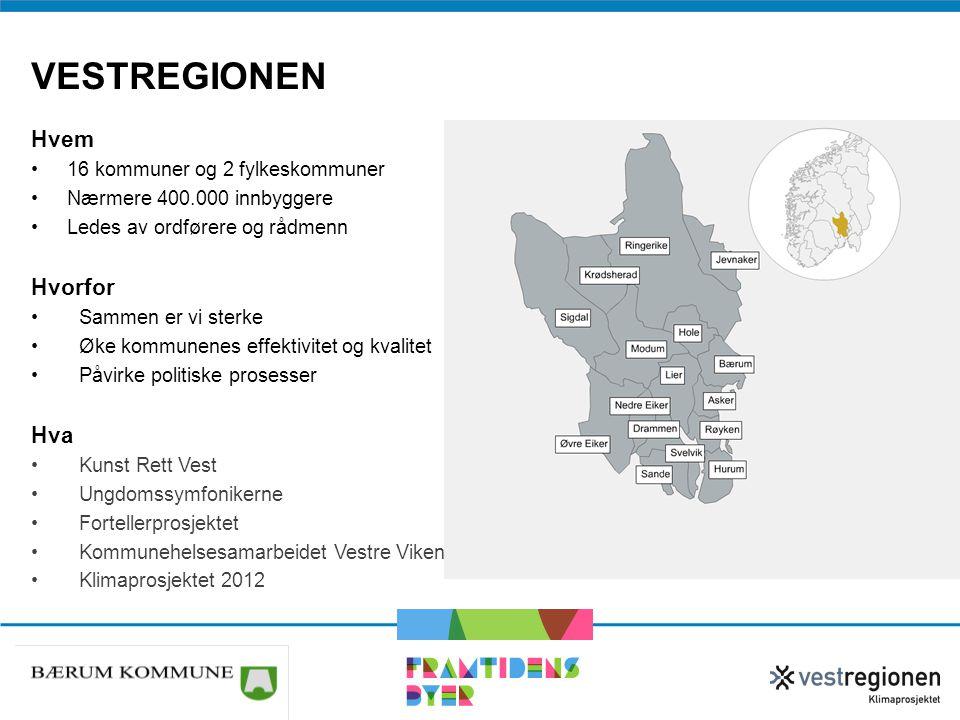 VESTREGIONEN Hvem •16 kommuner og 2 fylkeskommuner •Nærmere 400.000 innbyggere •Ledes av ordførere og rådmenn Hvorfor •Sammen er vi sterke •Øke kommun