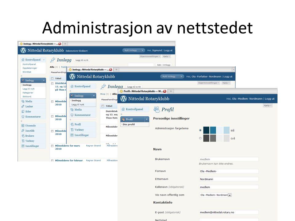 Administrasjon av nettstedet