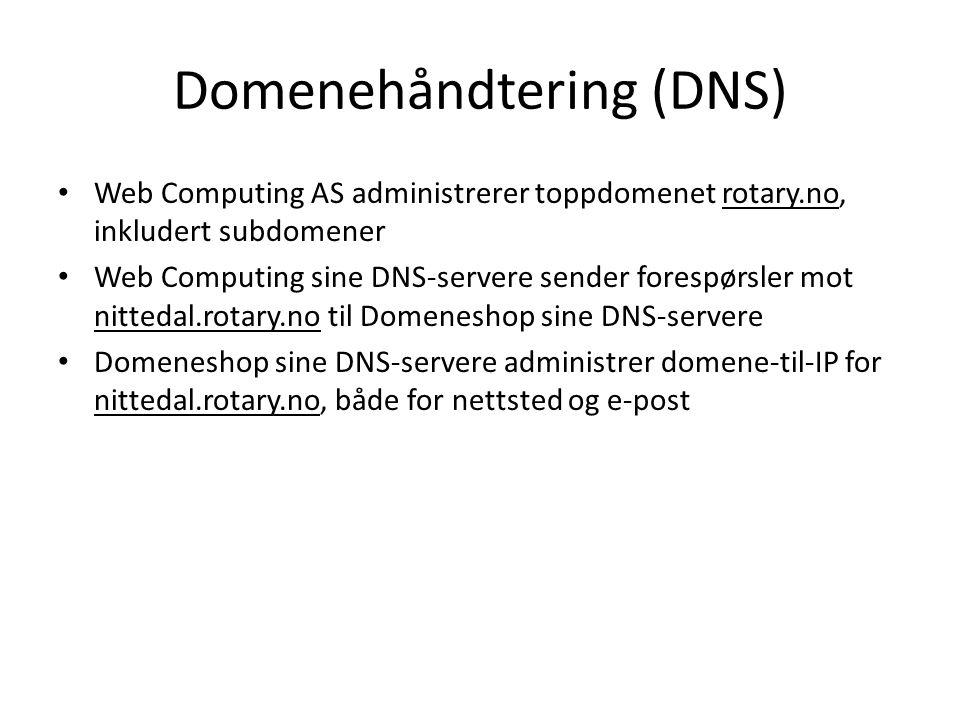 Domenehåndtering (DNS) • Web Computing AS administrerer toppdomenet rotary.no, inkludert subdomener • Web Computing sine DNS-servere sender forespørsl