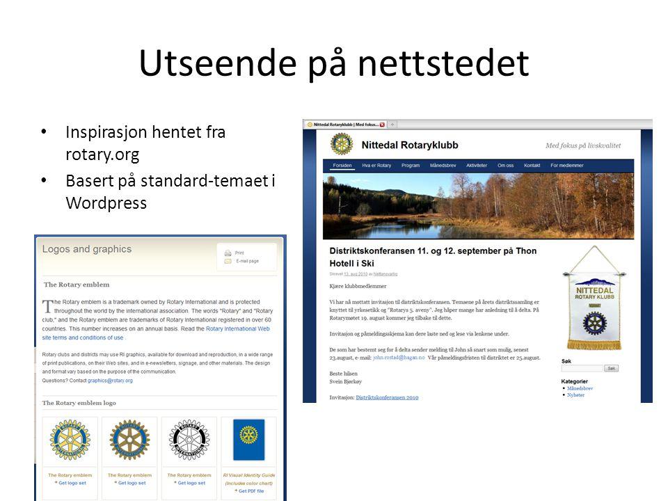 Utseende på nettstedet • Inspirasjon hentet fra rotary.org • Basert på standard-temaet i Wordpress