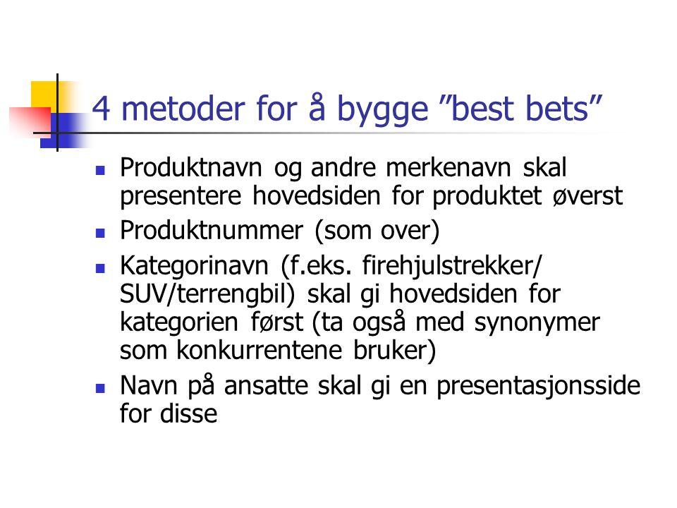 """4 metoder for å bygge """"best bets""""  Produktnavn og andre merkenavn skal presentere hovedsiden for produktet øverst  Produktnummer (som over)  Katego"""