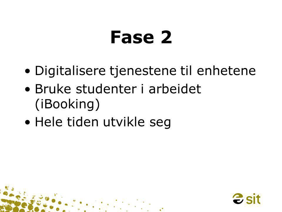 Fase 2 •Digitalisere tjenestene til enhetene •Bruke studenter i arbeidet (iBooking) •Hele tiden utvikle seg