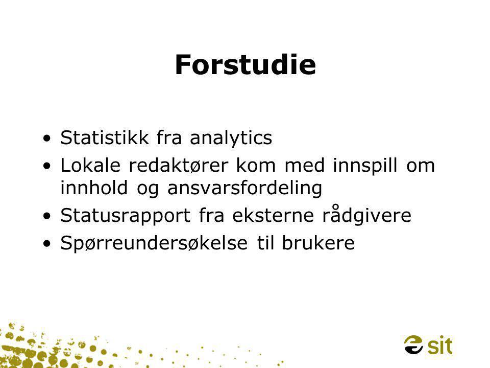 Forstudie •Statistikk fra analytics •Lokale redaktører kom med innspill om innhold og ansvarsfordeling •Statusrapport fra eksterne rådgivere •Spørreundersøkelse til brukere