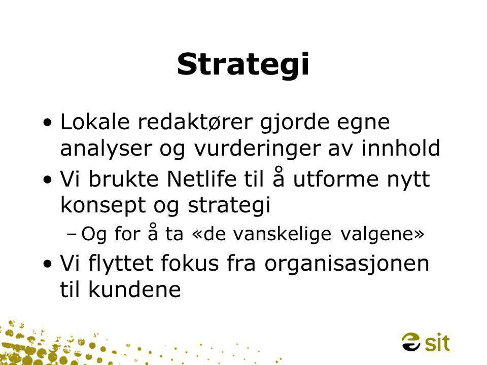 Strategi •Lokale redaktører gjorde egne analyser og vurderinger av innhold •Vi brukte Netlife til å utforme nytt konsept og strategi –Og for å ta «de vanskelige valgene» •Vi flyttet fokus fra organisasjonen til kundene