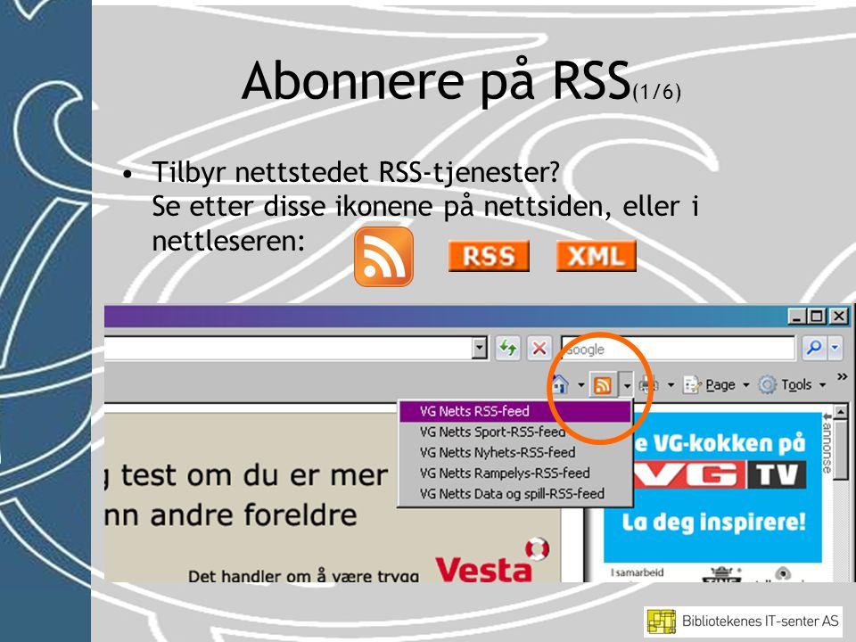 •Tilbyr nettstedet RSS-tjenester.