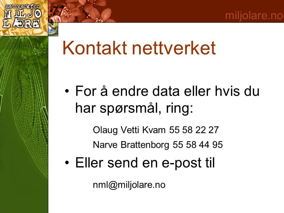 Kontakt nettverket •For å endre data eller hvis du har spørsmål, ring: Olaug Vetti Kvam 55 58 22 27 Narve Brattenborg 55 58 44 95 •Eller send en e-pos