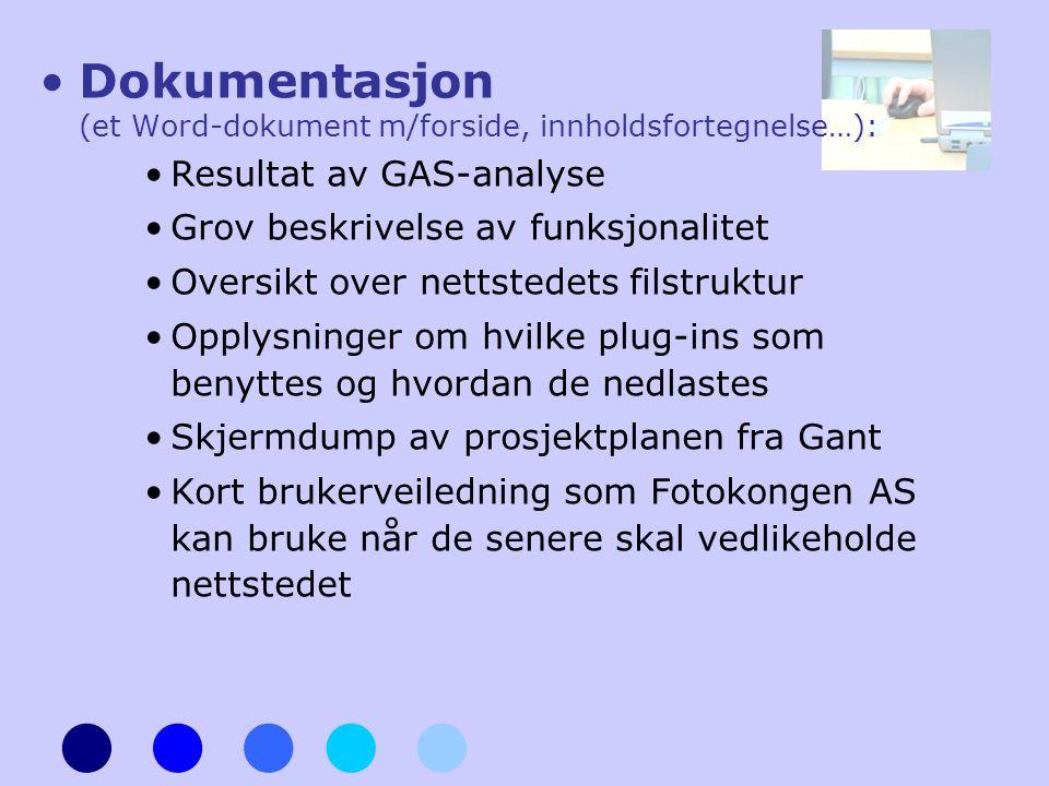 •Dokumentasjon (et Word-dokument m/forside, innholdsfortegnelse…): •Resultat av GAS-analyse •Grov beskrivelse av funksjonalitet •Oversikt over nettste
