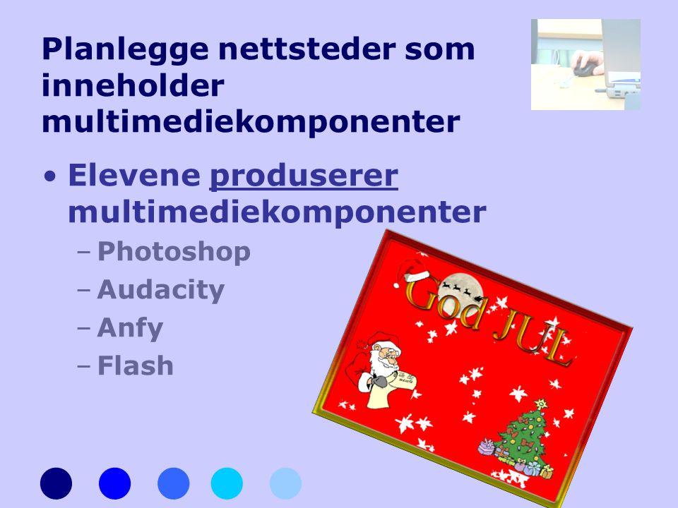 Planlegge nettsteder som inneholder multimediekomponenter •Elevene produserer multimediekomponenter –Photoshop –Audacity –Anfy –Flash
