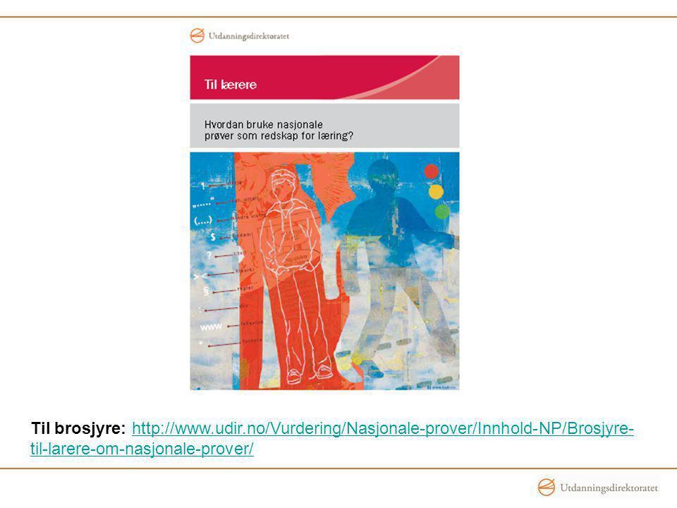 Til brosjyre: http://www.udir.no/Vurdering/Nasjonale-prover/Innhold-NP/Brosjyre- til-larere-om-nasjonale-prover/http://www.udir.no/Vurdering/Nasjonale